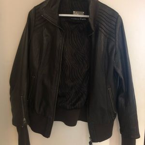 Brown Aritzia leather jacket